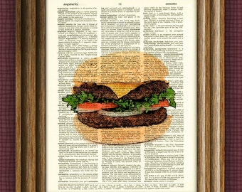 Delicious HAMBURGER on a sesame seed bun beautifully upcycled dictionary page book art print