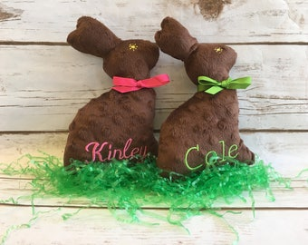 Plush Chocolate Easter Bunny - Personalized Easter Bunny - Easter Gift for Kids