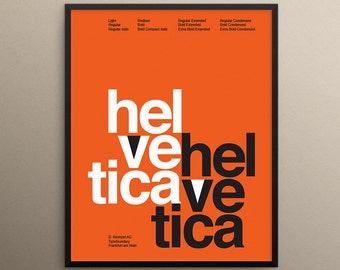 Helvetica: Poster Wall Art Print. Mid Century Modern Wall Art. Modern Illustration.
