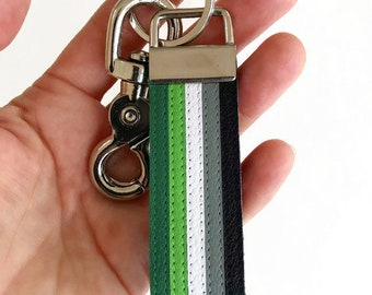 Aromantic pride leather keychain, queerplatonic pride, Aro Pride.