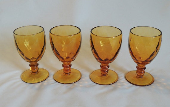 4 Mid Century Amber 8oz Stem Goblets YEOMAN DIAMOND OPTIC Heisey / Imperial Glass