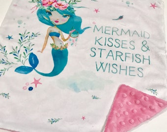 Mermaid Kisses Pink Minky Baby Blanket Lovey