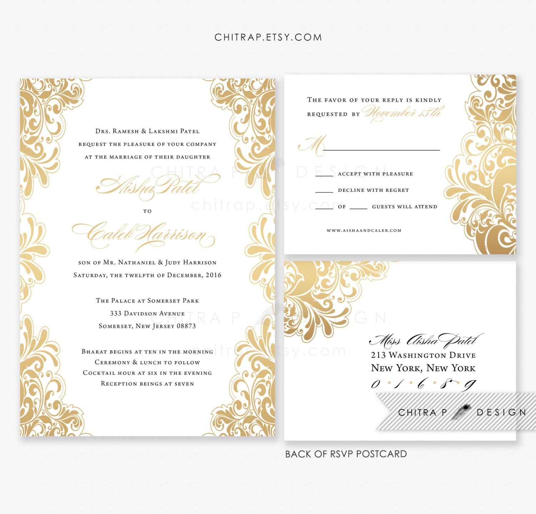 White Gold Wedding Invitations RSVP Postcards Printed
