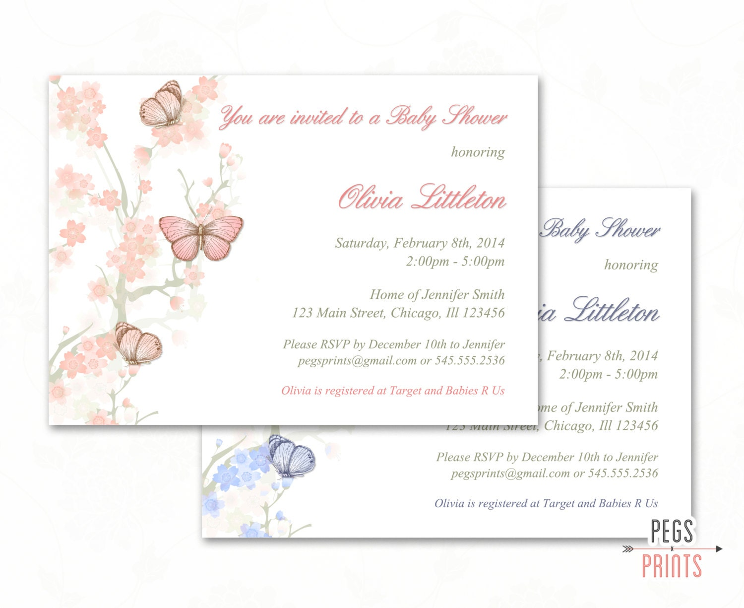 Butterfly Baby Shower Invitation Printable Butterfly Baby