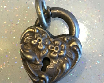 Antique 1940's Walter Lampl Forget-me-not Embossed Sterling Silver Heart Lock Charm