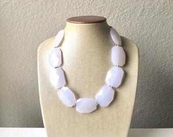 White chunky statement necklace, bib jewelry cloudy white necklace, white jewelry, white beaded necklace, white bubble, cloud necklace