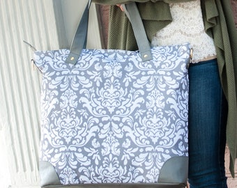 Fall SALE grey shoulder tote work bag best friend bridesmaid classic damask luggage travel laptop Beach House Dreams OBX Outer Banks