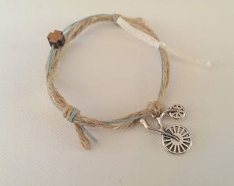 Burlap rope bracelet with bicycle and wooden cross, baptism, set of 25pcs