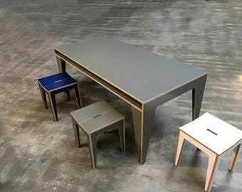 dining room table, work table, desk, art deco, tight, plywood, grey,
