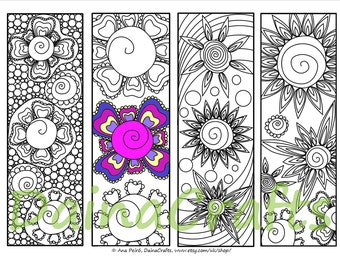 Printable Bookmarks to Color- Instant Download Flower Bookmarks - Coloring for Adults - PDF Download - Colouring Bookmarks - Coloring Page