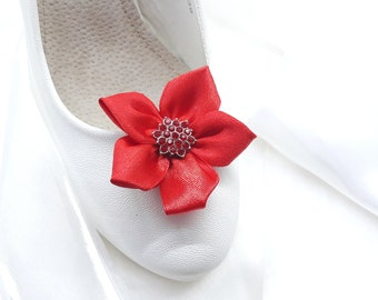 Red shoe clips, Red wedding flower