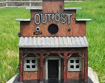 The Outpost: Battery powered birdhouse guitar amp. Unique gift for musicians. Great for practicing, performing, busking. Cigar box amplifier