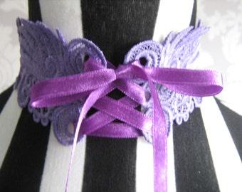 Lilac Handmade Embroidered Corset Choker