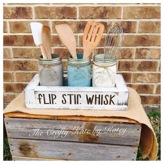 Kitchen Mason Jars Kitchen Utensil Holder Farmhouse Kitchen