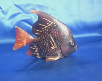 Vintage Carved Wooden Angelfish