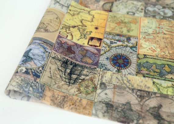Laminated cotton vintage world map printed fabric made in gumiabroncs Gallery