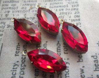 Ruby 18X9mm Navette Glass Drops in Brass Ox Settings 4 Pcs
