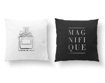 SET of 2 Pillows, Magnifique Pillow, Perfume Pillow, Nursery Decor, Throw Pillow, Bedroom Pillow, Cushion Cover, Gold Decorative Pillow,