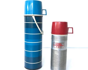 Vintage Thermos Set, Silver Thermos, Blue Striped Thermos