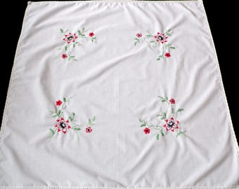Vintage white square tablecloth with red flowers floral hand embroidery , hand embroidered table cloth