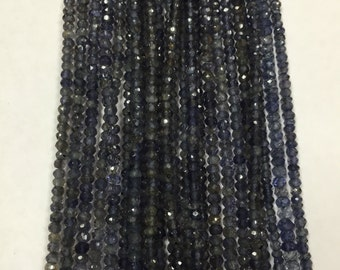 Iolite Faceted Roundel 3mm - Iolite Roundels- Fine Quality Roundel Beads