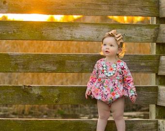 Girls romper for spring - romper for toddler girls - baby bubble romper - girls romper - bubble romper for baby girls - floral romper
