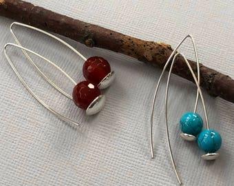 Silver Earrings with Red Coral/ Coral Earrings /Christmas Earrings /Minimalist Earrings /Contemporary Earrings/ Sterling Silver Earrings