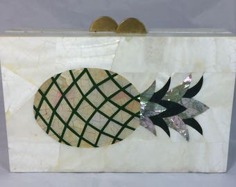 New Handmade Minaudière Rectangular Pineapple Clutch in White Mother of Pearl