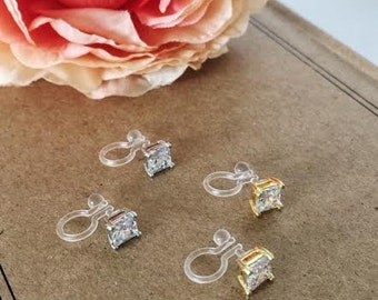 Invisible Clip on Cubic Zirconia stud earrings / Non pierced earrings / Comfortable clip on earrings / wedding jewelry /Bridal