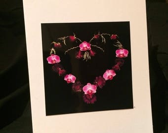Blank Card - Handmade Photo Card - Heart - Pink Orchids - Greeting Card - Pretty Card