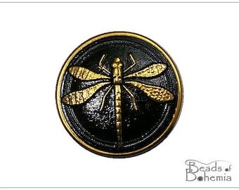 Black Golden Dragonfly Czech Glass Button 31,5 mm, 1 pc (6930)