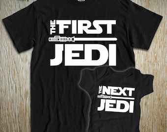 "New! ""The First Jedi - The Next Jedi"" Dad, Mom, Son or Daughter Combo Set for new Jedi Movies, Christmas Thanksgiving Party or Everyday Wear"