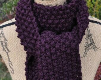 Chunky Scarf - Plum - Purple - Eggplant - Long Ladies Scarf - Chunky Winter Scarf Women - Scarf Hat Set