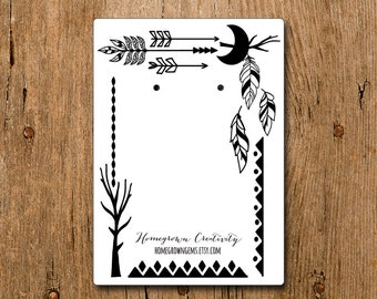 Moon Feather Arrow Tribal Ethnic Boho Style Frame   Custom Earring Display Cards with Your Logo   DS100
