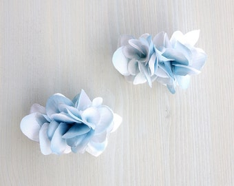 Pale Petals Barrette, A hydrangea barrette hair clip, the coming of Spring / Pale blue white - S size -