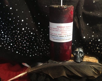 MORRIGAN CRYSTAL MiniPillar Candle - Battle Raven, Celtic Goddess, Prophesy, Divination