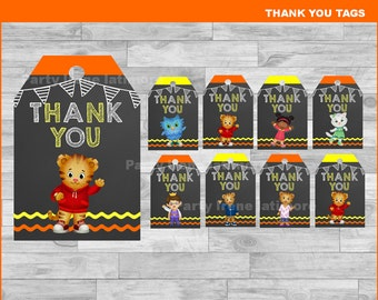 Daniel tiger's Thank you Tags Instant download, Daniel tiger Chalkboard tags, Daniel tiger Thank you Tags