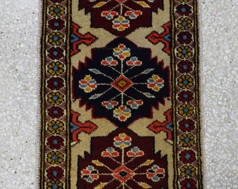 Beautiful Hand knotted small Rug Design Jaldar Size 59x29cm
