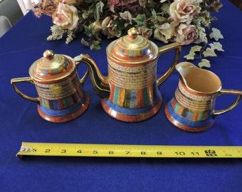 Antique TAKITO THOUSAND FACES China Tea Pot, Creamer and Sugar 1920s