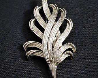 Vintage Silver Toned Feather Spray Brooch,  Silver Toned Feather Plume Brooch