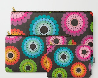 Rainbow polka dots carry all pouch,make up bag,cosmetic bag,zipper bag,toiletry pouch,coin purse,womens clutch,girlfriend gift,ipad bag