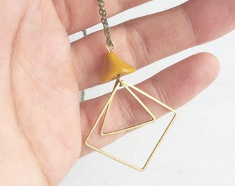 Glass and geometric necklace with golden rod czech glass, diamond and triangle necklace, long necklace, boho necklace, gold necklace