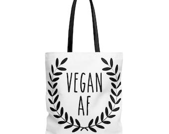 Vegan Af Tote Bag - Vegan Meal Tote - Vegetarian Gifts - Large Tote Bags - Cute Tote Bags - Weekend Bags