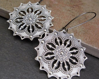 Silver Boho earrings Gypsy earrings filigree dangle earrings round drop earrings - Bohemian jewelry