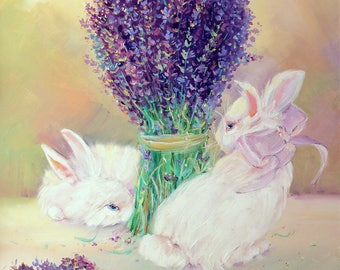 Bunny painting Lavender painting Bunny rabbit Bright painting Original Oil painting Cute painting Paletter knife Oil on canvas for her