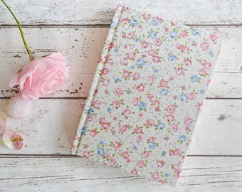 Ditsy floral A5 notebook with blank pages | Blue and pink flowers | Floral sketchbook | Vintage floral journal | sketchbook in pink and blue