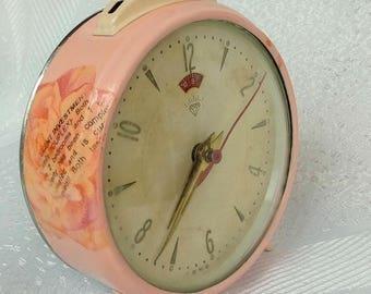Vintage Alarm Clock, Shabby Chic Clock, Antique Alarm Clock, Retro Alarm Clock, French Desk Clock, Pink Desk Alarm Clock, Shabby Chic Decor