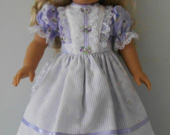 Lacy apron dress fits 18 inch dolls like American Girl