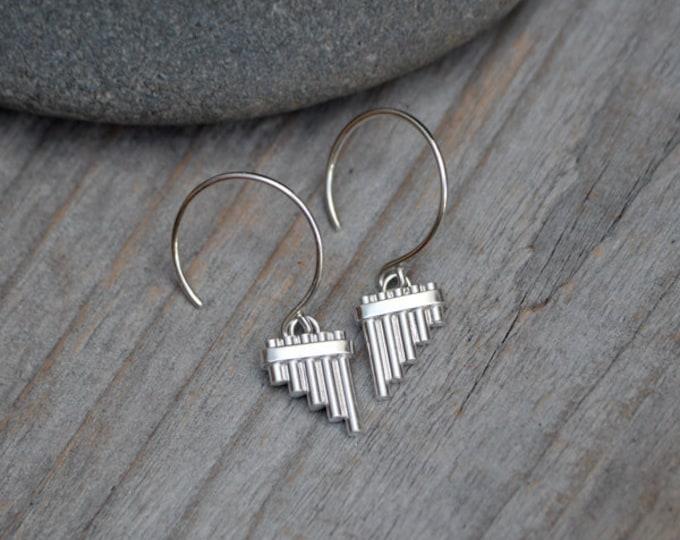 Pan Pipe Earrings In Solid Sterling Silver, Handmade In The UK