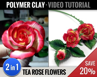 Polymer Clay Tutorials Pack #3 DIY 2-in-1: How to make Realistic Tea Rose Flowers & Make Necklace, Video Flower Tutorials, Instant Access